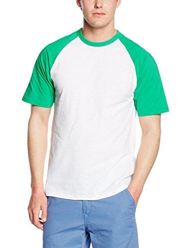 (Fruit Of The Loom Mens Short Sleeve Baseball T-Shirt (M) (White/Kelly Green))