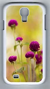 Colorful Purple Flower PC Hard Case Cover For Samsung Galaxy S4 SIV I9500 Case and Cover White