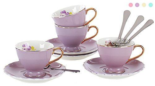Jusalpha Porcelain Coffee Bar Espresso small Cups and Saucer