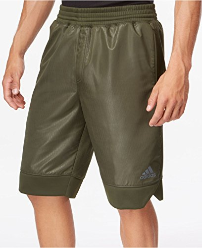 adidas Mens Ice Fleece Shorts, Night Cargo Green, Large