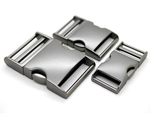 CRAFTMEmore 2 pcs 3/4 inch Metal Curved Side Release Buckle Webbing Bag Clip Lock Belt Strap Backpacks Collar - Premium Quality (Matte Black)