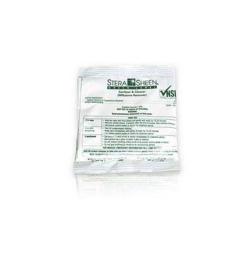 Box of 100-2 oz. Stera-Sheen Green Label Sanitizer Packets (Purdy Products) -