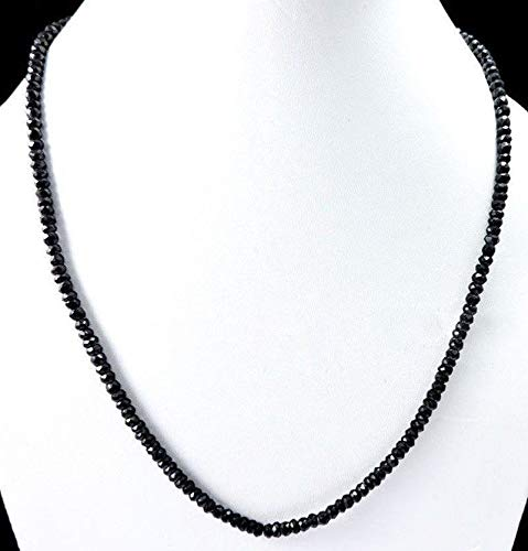 Natural 2x4mm Faceted Black Agate Onyx Rondelle Gems Beads Necklace 18'' AAA