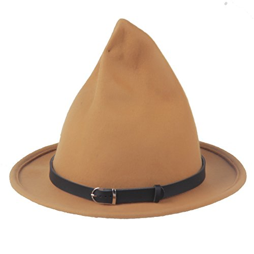(Prefe Women's 100% Wool Belt Fedora Witch Hat Halloween Costume Accessory)