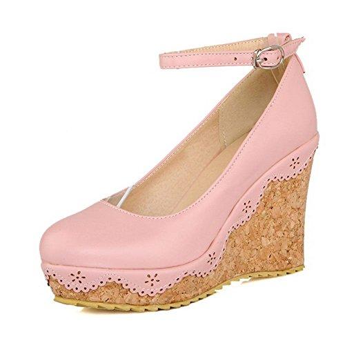Allhqfashion Donna Tacco Alto Rotondo Punta Chiusa Scarpe Con Fibbia-scarpe, Rosa, 37