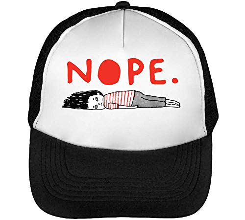 Blanco Negro Hombre Sleeping Nope Snapback Beisbol Gorras qxXRxYwC