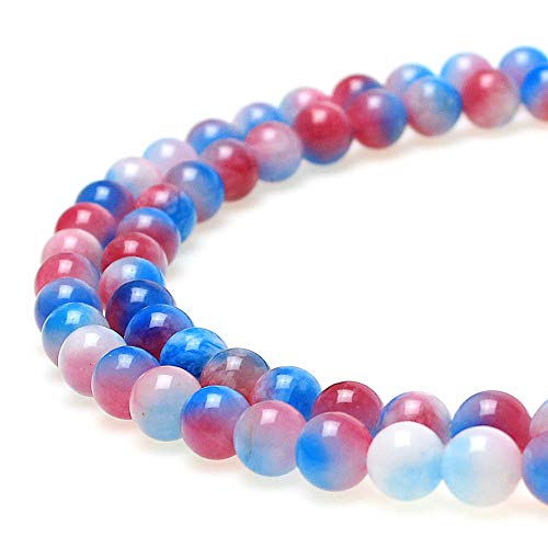 JARTC Natural Red Blue White Chalcedony Round Loose Beads for Jewelry Making DIY Bracelet Necklace (8mm)