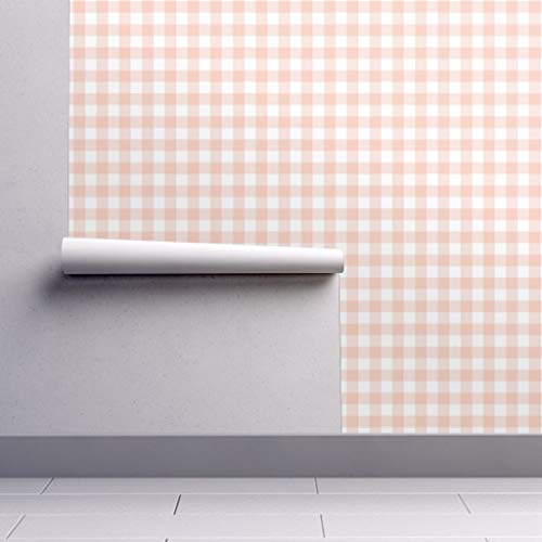 Removable Water-Activated Wallpaper - Buffalo Check Plaid Blush Pink Baby Girl Gingham Check Gingham Buffalo Check by Sugarfresh - 24in x 108in Smooth Textured Water-Activated Wallpaper Roll