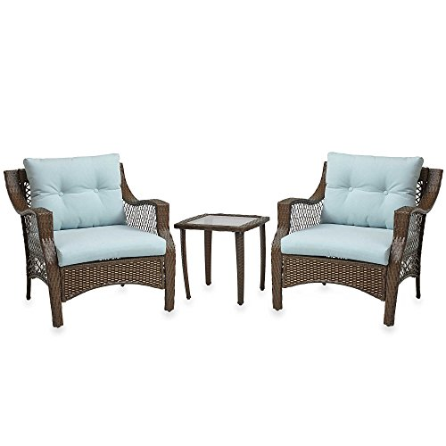3 Piece Outdoor Patio Wicker Furniture Set With Deep Seat Cushions (Light Blue) (Outside Table And Chairs For Sale)