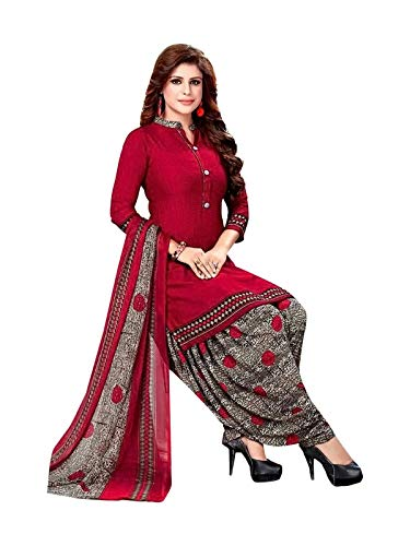 Ishin Poly Crepe Red   Grey Printed Unstitched Salwar Suits dress material with Dupatta