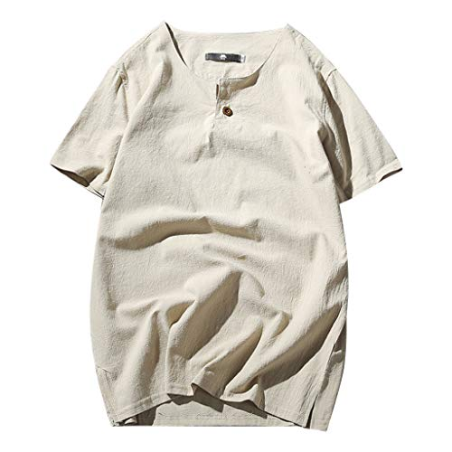 XQXCL Men's Solid Color Round Neck Button Short-Sleeved Shirt Cotton Hemp Top Khaki