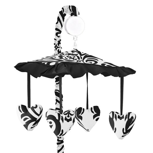 Sweet Jojo Designs Black and White Isabella Musical Baby Crib Mobile Isabella Nursery Bedding