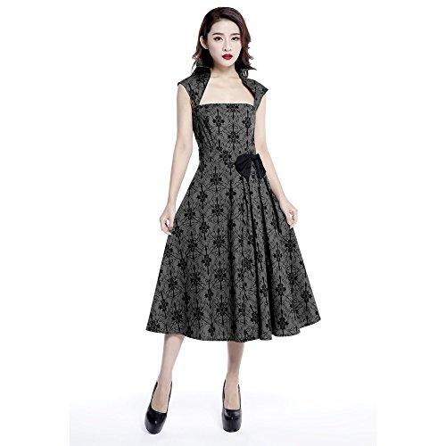 Größen Chic Bogen UK Print Seite grau und mit Ärmellos 36 Kleid 42 Star 40 44 46 38 Gothic schwarz rFBw7rqp