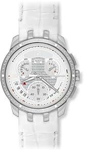 Swatch YRS426 - Reloj de caballero de cuarzo, correa de piel color blanco