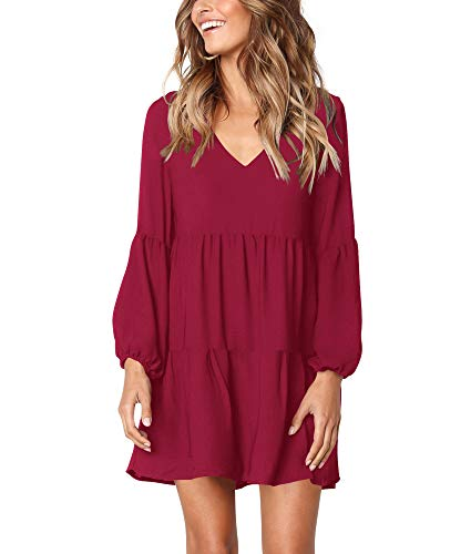 HPLY Women Long Sleeve Ruffle Loose Swing Dresses Casual V-Neck Pleated Shift Dress (X-Large, - Swing Puff Sleeve