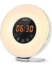 INLIFE Wake Up Light Despertador de Luz con 7 Colores Ajustables 6 Sonidos Naturales y 10 Intensidades de Luz Radio FM Control Táctil Función de Snooze
