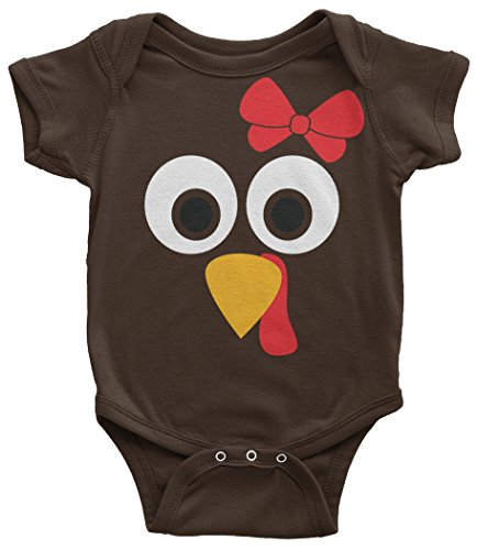 - Threadrock Baby Girls' Turkey Face with Big Red Bow Infant Bodysuit 24 Months Brown