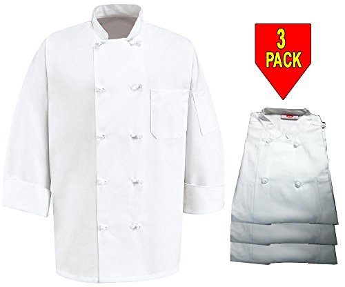 350 Chef Apparel 10 Knot Button Chef Coat-Easy-Care Twill - 3 Pack White, - Button 3 Coat