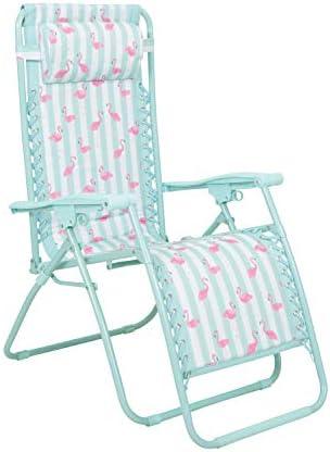 Mountain Warehouse Reclining Garden Sun Lounger Chair – Adjustable Padded Head Cushion