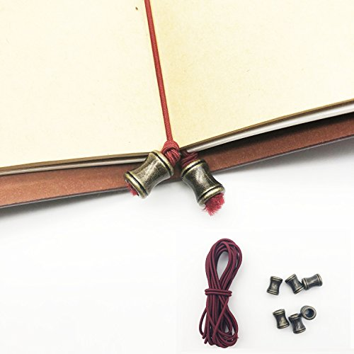 Bandas elásticas para cuaderno de viaje, con rejillas, correa de piel, 2 metros, banda de recambio con 6 botones para...
