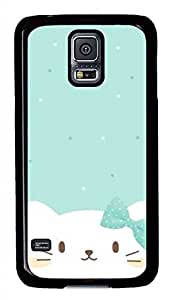 Cute White Cat PC Black Hard Case Cover Skin For Samsung Galaxy S5 I9600