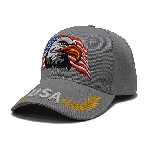 3D Embroidery Dad Hat Patriotic Eagle American Flag Adjustable Baseball Cap USA (Grey)