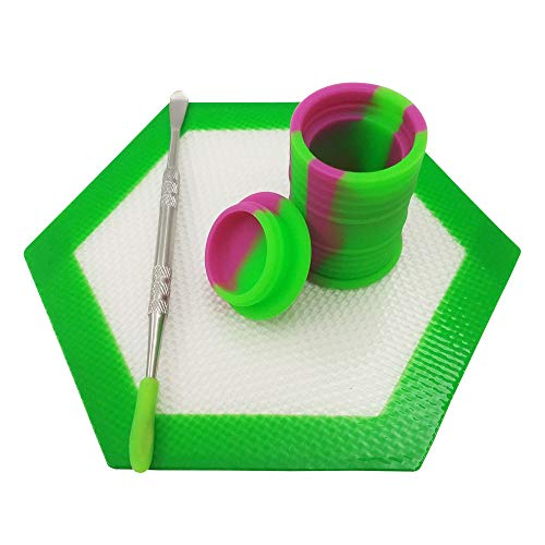 Oil Drum Set - SZBS A Set Silicone Container Hexagon Mat 11ml Drum Shape Container Wax Oil Container Concentrate Storage Containers Wax Silicone Jar With A Metal Rod (Green, 1)