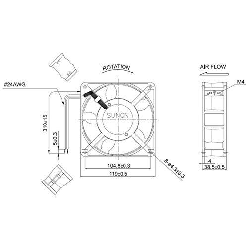Sunon DP200A2123XST Ventilador 120x120x38mm, CA 230V, 2700 U//min, 44dBA rodamiento de deslizamiento