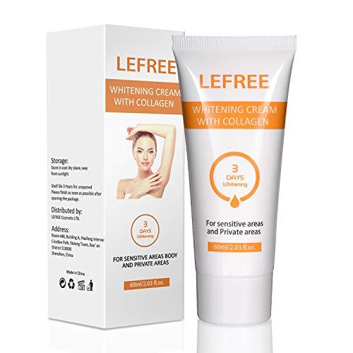 Underarm Whitening Cream, Natural Skin Lightening Cream for Sensitive & Private Areas,Effective for Armpit, Knees, Elbows, Sensitive & Private Areas, Whitens, Nourishes, Repairs & Restores Skin, 60ml