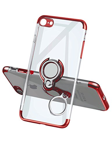 iPhone 7 Case iPhone 8 Case,Meetree Protective Cover Clear Slim Ultra Thin Case with 360 Rotating Ring Grip Holder Stand Magnetic for Car Mount Shock Absorption Soft Bumper Case for iPhone 7 8(Red)