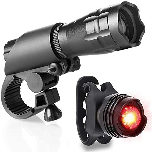 Bike Light Set Powerful Bright LED Front Bicycle Headlight With Rear Aluminum Red Tail Light for Bike, for Road, Racing & Mountain Bicycles, Waterproof Easy to Install for Kids Men Women Road Cycling ()