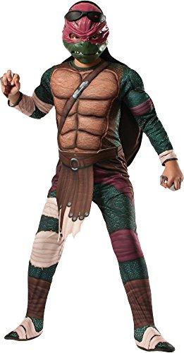 Rubies Teenage Mutant Ninja Turtles Deluxe Muscle-Chest Raphael Costume, Child (Ninja Turtle Halloween Costume Shell)