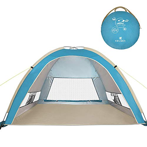 Family Cabana Tent - G4Free Large Pop Up Beach Tent Camping Sun Shelter Portable Sun Tents Outdoor Automatic Cabana 3-4 Person Anti UV 50+ Shade for Family Adults Youth Camping Fishing Sets up in Seconds (Lake Blue)