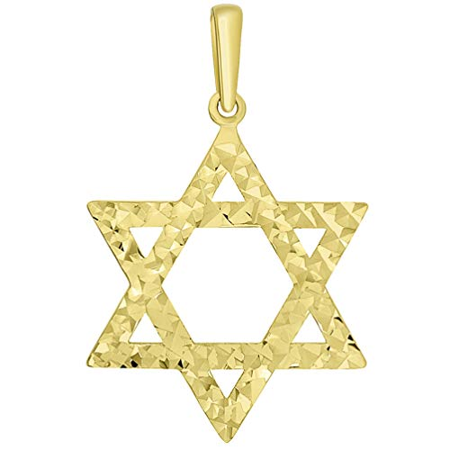 (Religious by Jewelry America Solid 14k Yellow Gold Textured Hebrew Star of David Pendant)