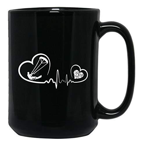 Kitesurfing Mens Hoodie - Kitesurfing Heartbeat Mugs, Coffee Mug Handle 15 oz