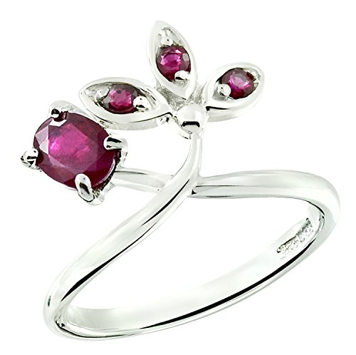 RB Gems Sterling Silver 925 Ring GENUINE GEMSTONE Oval 5x4 mm with RHODIUM-PLATED Finish, CROWN Design (7, ruby)