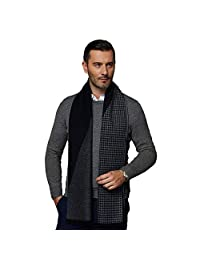 CUDDLE DREAMS Men's Silk Scarves, 100% Mulberry Silk Brushed, Luxuriously Soft (Navy Gray Houndstooth)
