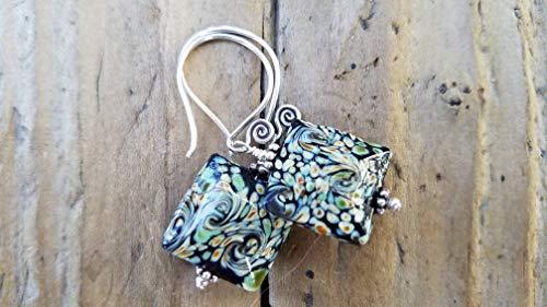 Black Lampwork Glass Earrings