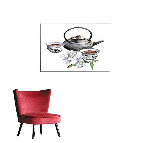 homehot Wallpaper Asian Traditional teapot with Cups and Jasmine Watercolor Mural 20