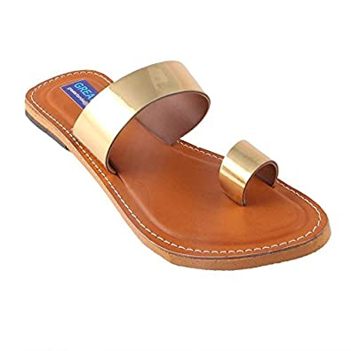 fa65e19e200a6 Rajasthani-Fashion Women s   Girls Slipper Golden Strap Flat Sandal  Buy  Online at Low Prices in India - Amazon.in