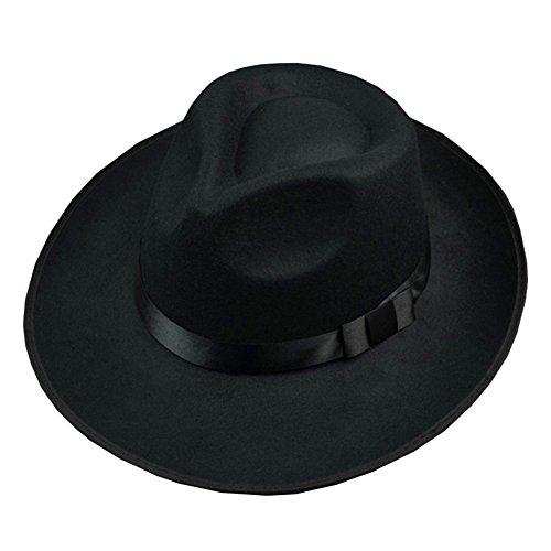 Men Wool Felt Fedora Hat Bowler Hat Classic Wide Brim Jazz Cap