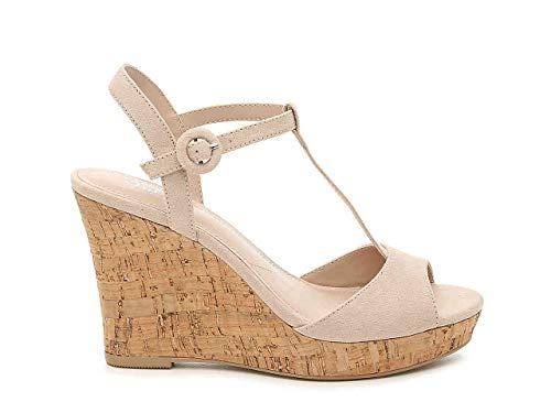 CHARLES DAVID Charles Latin Nude Cork T-Strap Open-Round Toe Platform Wedge (6.5, Nude) Charles David T-strap Sandals