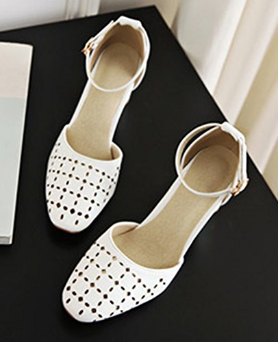 White Chic Sandals Toe Hollow Square Women's Shoes Out Aisun BwnqPvx88