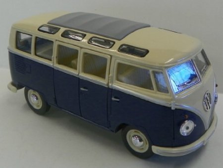 Brand New KINGSMART 1/24 Scale Car Toys 1962 Volkswagen Classic Hippy Bus Blue Diecast Metal Pull Back Car Toy For Gift Loose (24 Scale)
