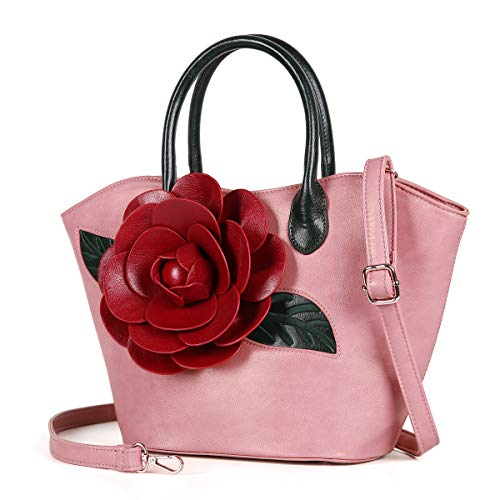 (Women Purse Large Rose Flower Handbag Faux Leather Tote Bag By Vanillachocolate (Pink))