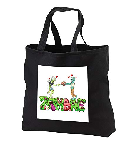 Carsten Reisinger - Illustrations - Funny Zombae Halloween Couple Zombie Woman Man - Tote Bags - Black Tote Bag JUMBO 20w x 15h x 5d (tb_294852_3) by 3dRose