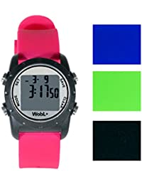 WobL + (4 colors available) Smallest Vibrating Waterproof Reminder Watch (Pink Band / Black Case)