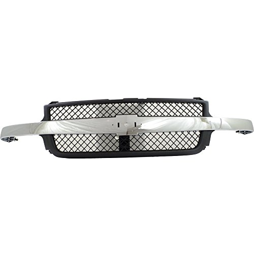 Grille for Chevrolet Silverado 2500 HD/3500 01-02 Platic Painted-Black W/Chrome Center Bar Old Body -