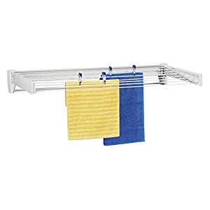 Leifheit 83100 Telefix 100 Wall Mount Retractable Clothes Drying Rack | 8 Drying Rods | White
