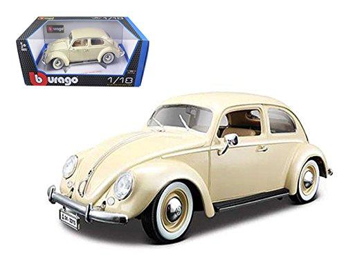 Maisto 1955 Volkswagen Beetle Kafer Beige 1/18 Car Model by Bburago